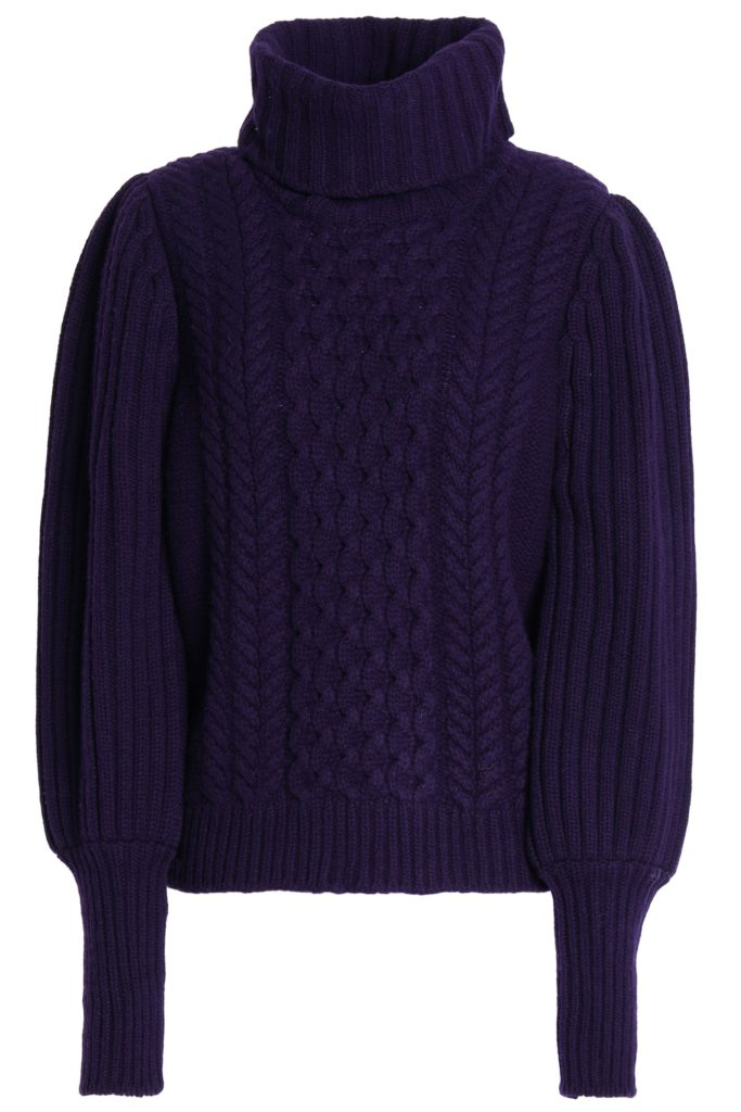 Cable-knit wool turtleneck sweater by Temperley London, €389 at theoutnet.com