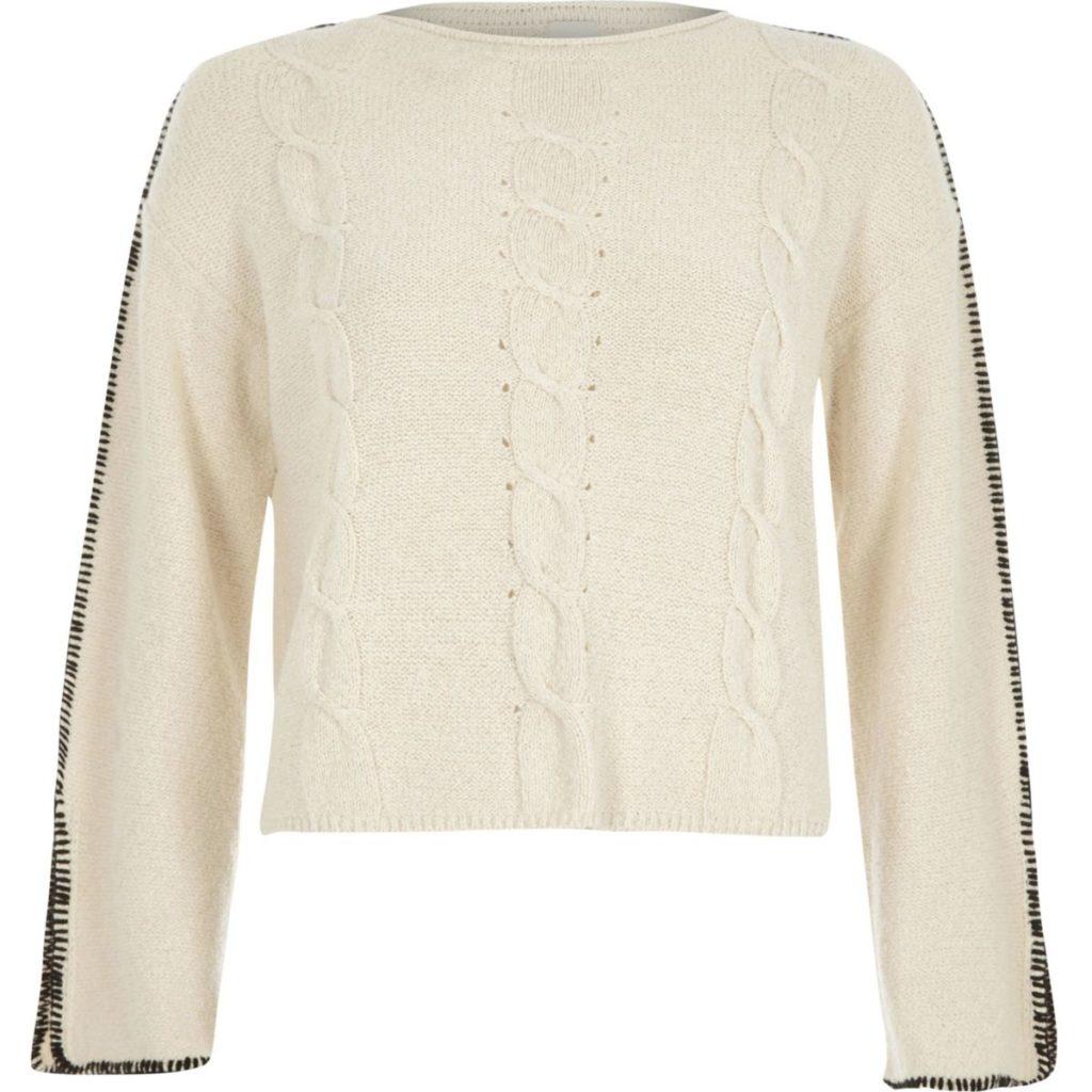 Cream cable knit blanket stitch jumper, €18 at riverisland.ie