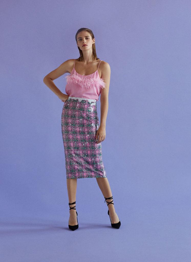 Tartan checked sequinned skirt, €125 at uterque.com