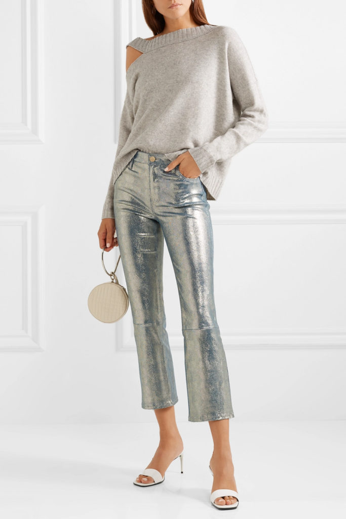 Selena cropped metallic snake-effect leather flared pants by J Brand, €1,360 at net-a-porter.com