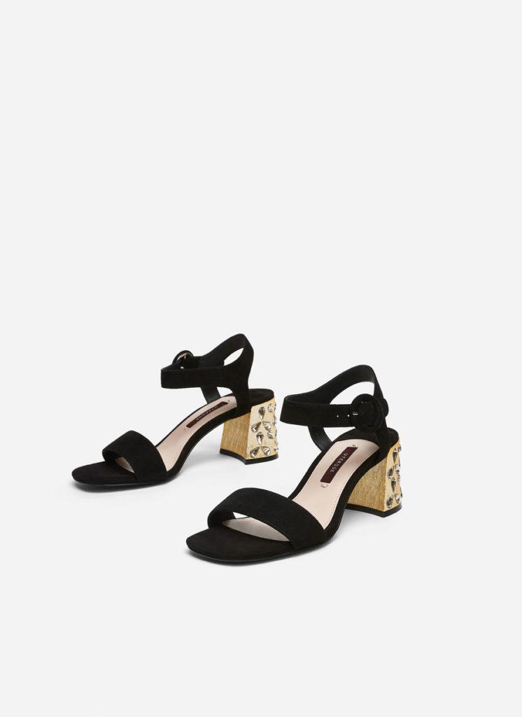 Suede mid-heel gem sandals, €125 at uterque.com