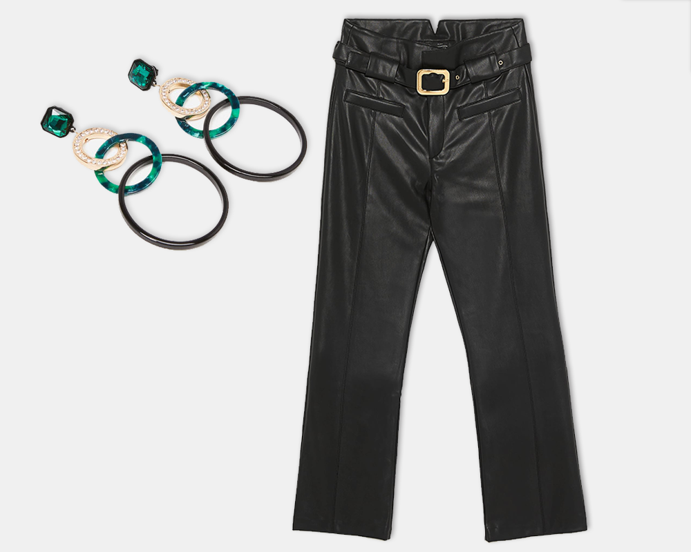 Bejewelled hoop earrings, €49 at uterque.com, faux leather trousers, €39.95 at zara.com