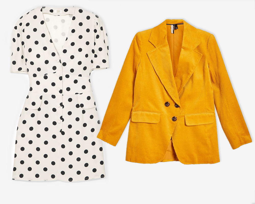 Laura polka-dot crepe mini dress by Rixo London, €271 at net-a-porter.com, corduroy double breasted blazer, €89 at topshop.com