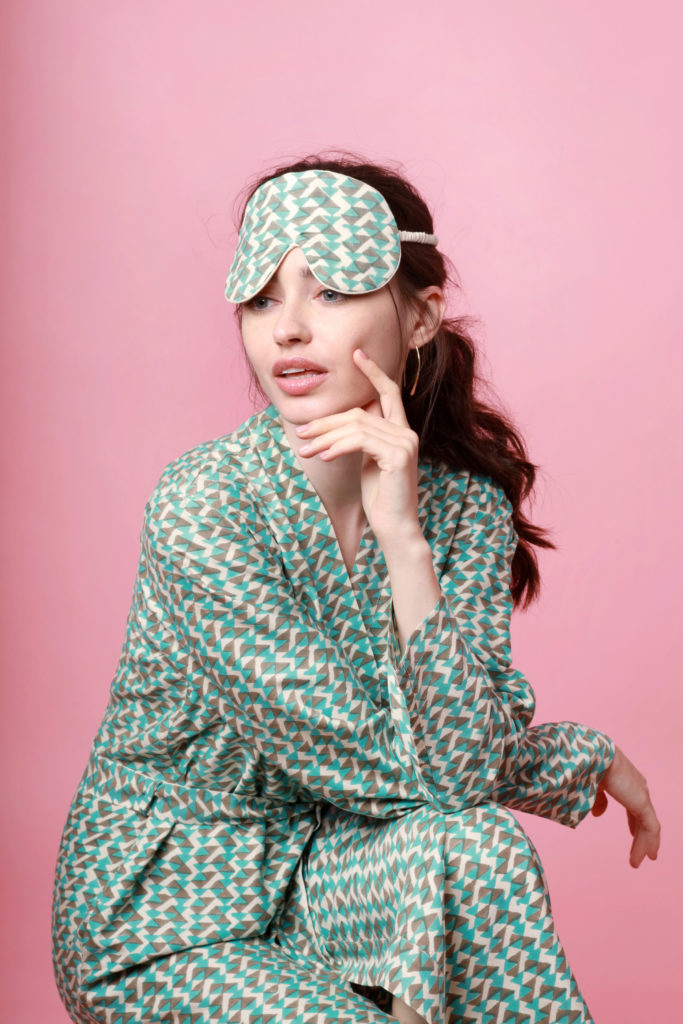 Teal handprinted mulberry silk robe €195 and eye mask €30, both at The Ethical Silk Co.