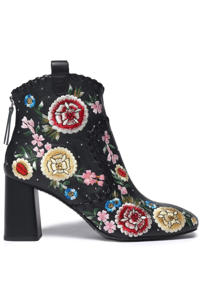 Myra whipstitched embroidered leather ankle boots by Alice + Olivia, €495 at theoutnet.com
