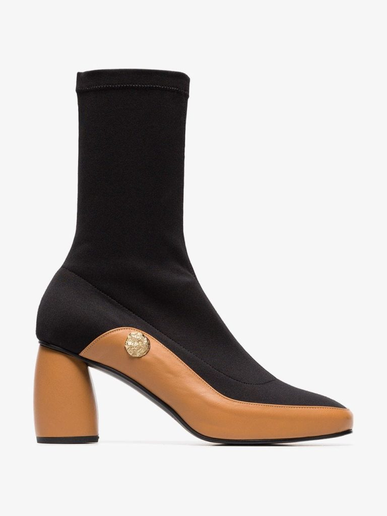 Black and brown curved 90 leather sock boots byReike Nen, €422.26 at brownsfashion.com