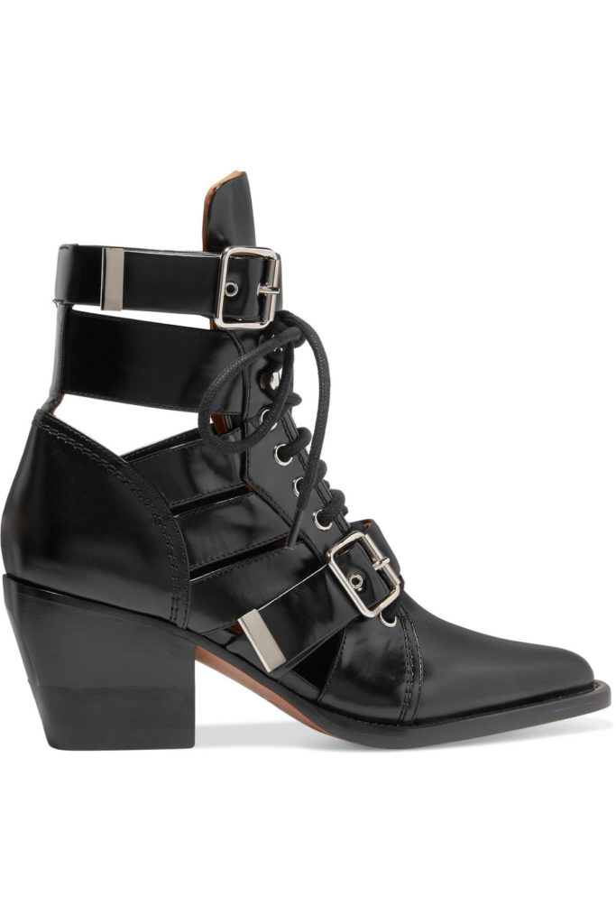 Rylee cutout glossed-leather ankle boots, €1,095 at net-a-porter.com