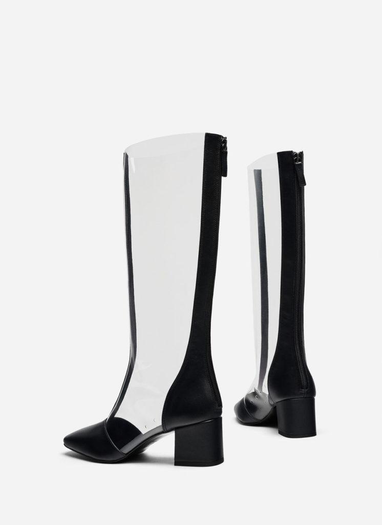 Vinyl boots with toecaps, €150 at uterque.com