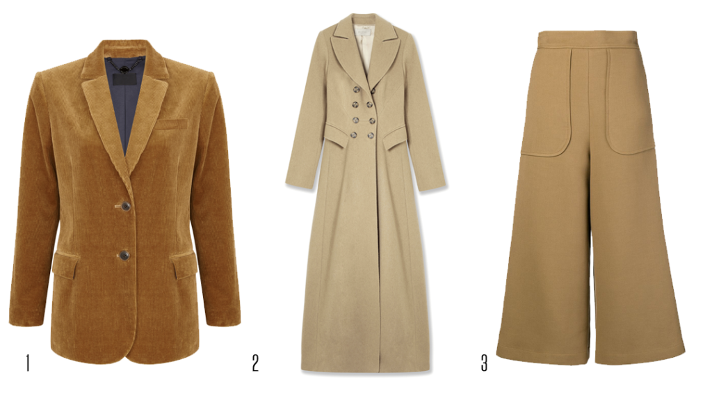 Corduroy blazer, Autograph, €140 at Marks & Spencer, rosetta coat, €450 at Hobbs, flared tailored trousers, See by Chloé, €280 at farfetch.com