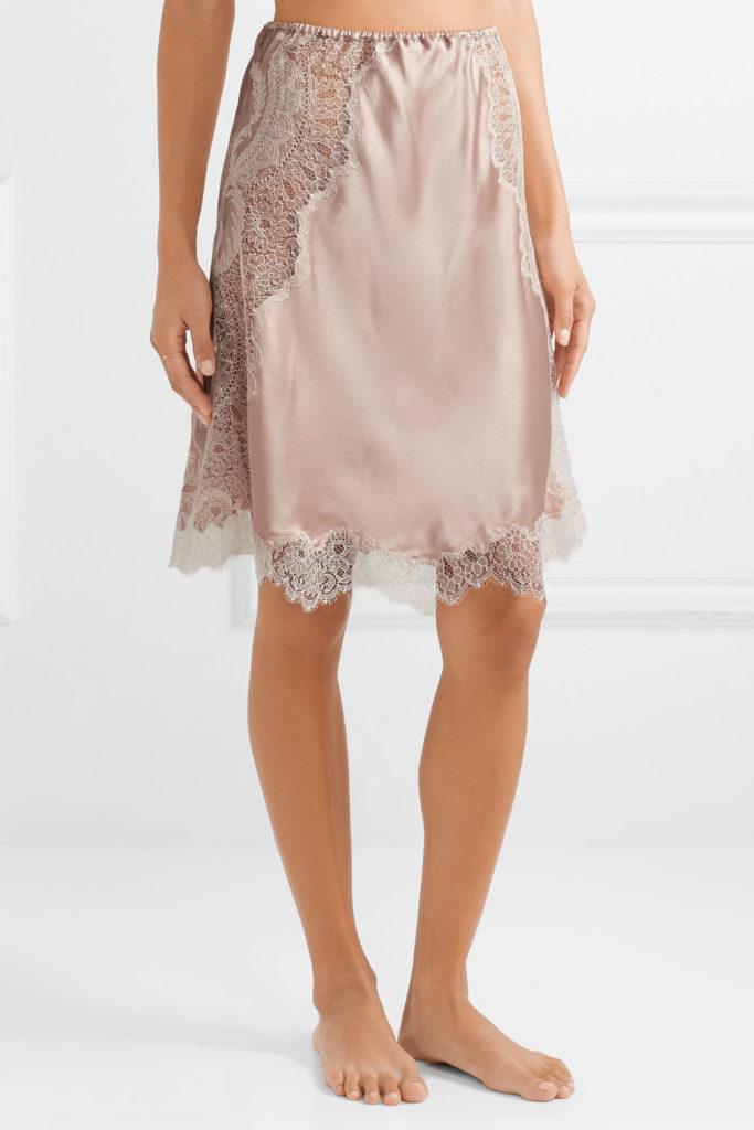 Chantilly lace-trimmed silk-satin slip skirt by Carine Gilson, €870 at net-a-porter.com