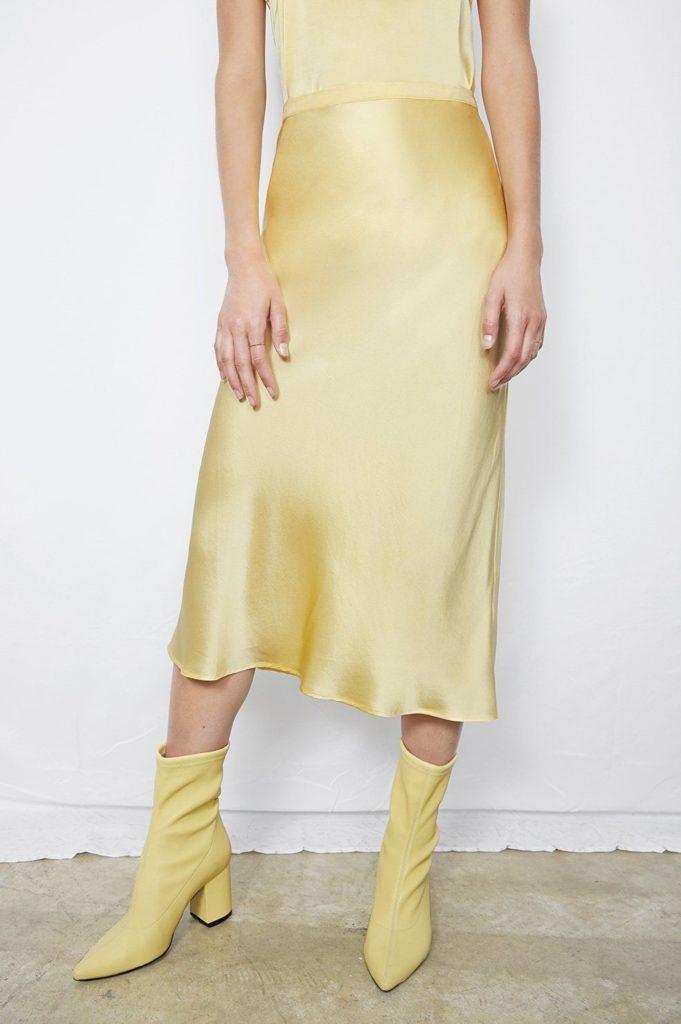 Bar silk skirt in popcorn, €215 at orchardmile.com