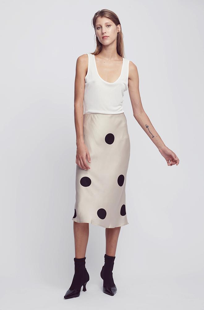 Bias cut slip skirt in big polka blush, €171.42 atsilklaundry.com.au