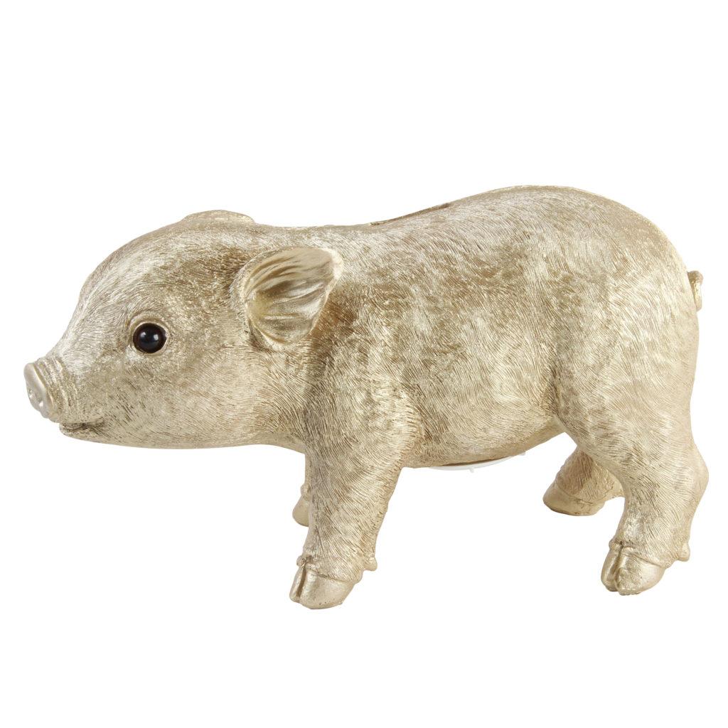Piggy bank in gold, €32 at myshiningarmour.com