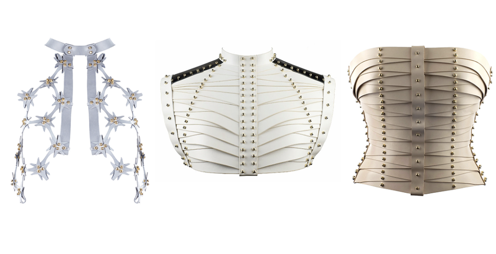 Lace cutout vest, €867.24, laced strapped bustier, €1820.06, strapped bodice, €1626.07, all at unaburke.com