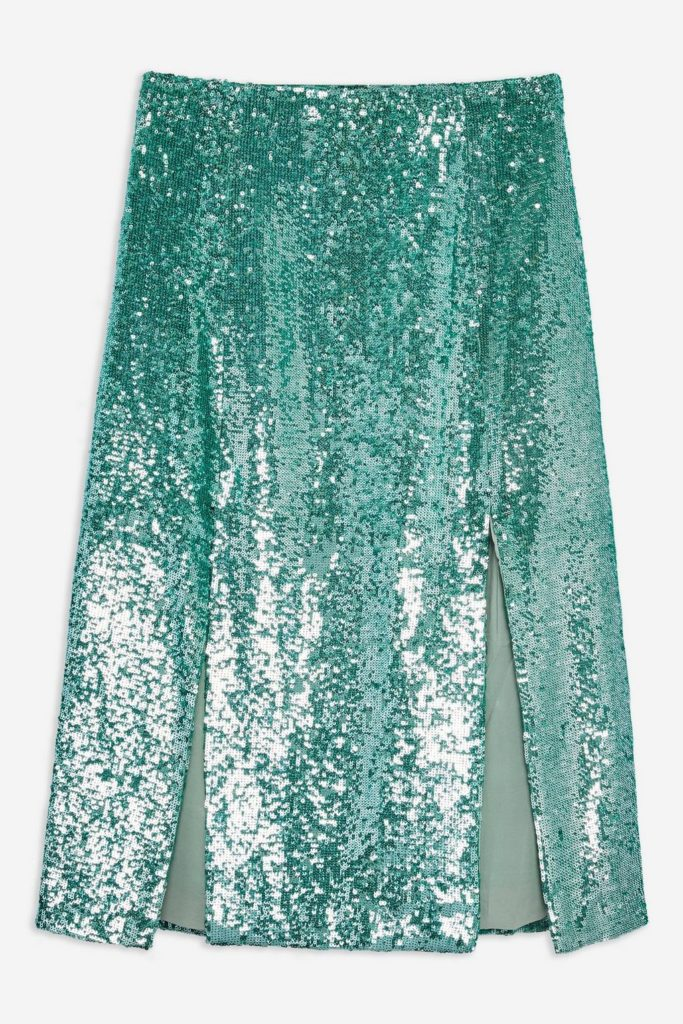 Sequin midi skirt, €98 at topshop.com