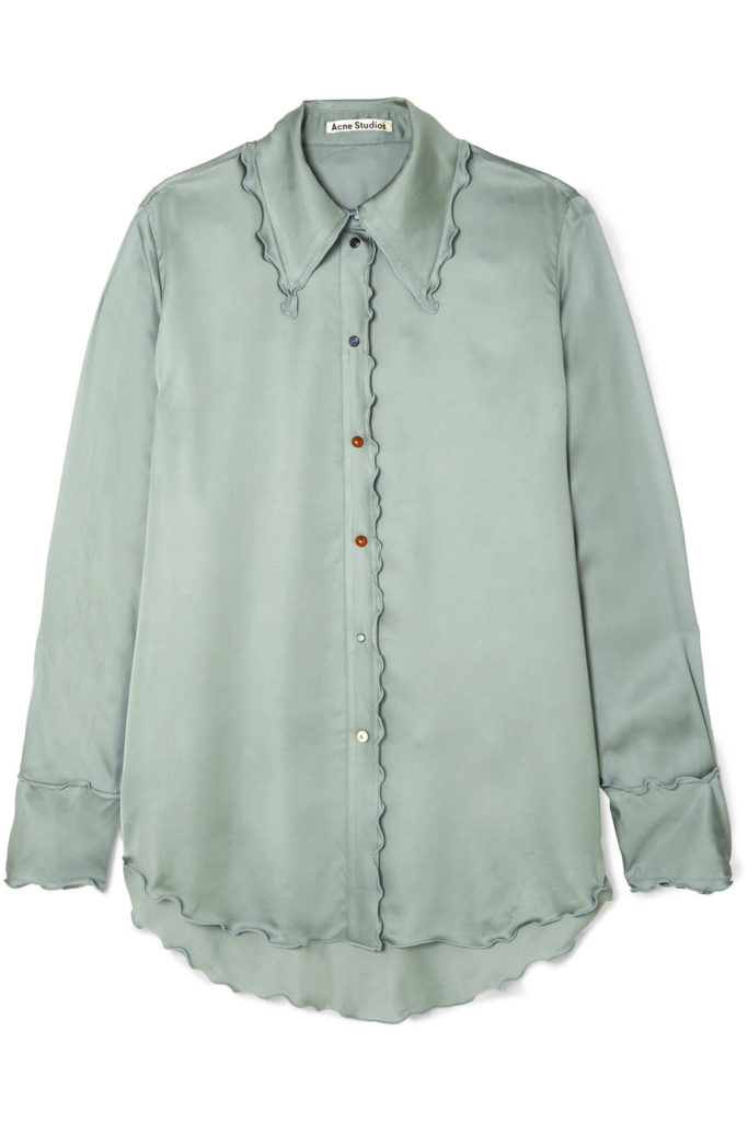 Ruffled satin shirt by Acne Studios, €420 at net-a-porter.com