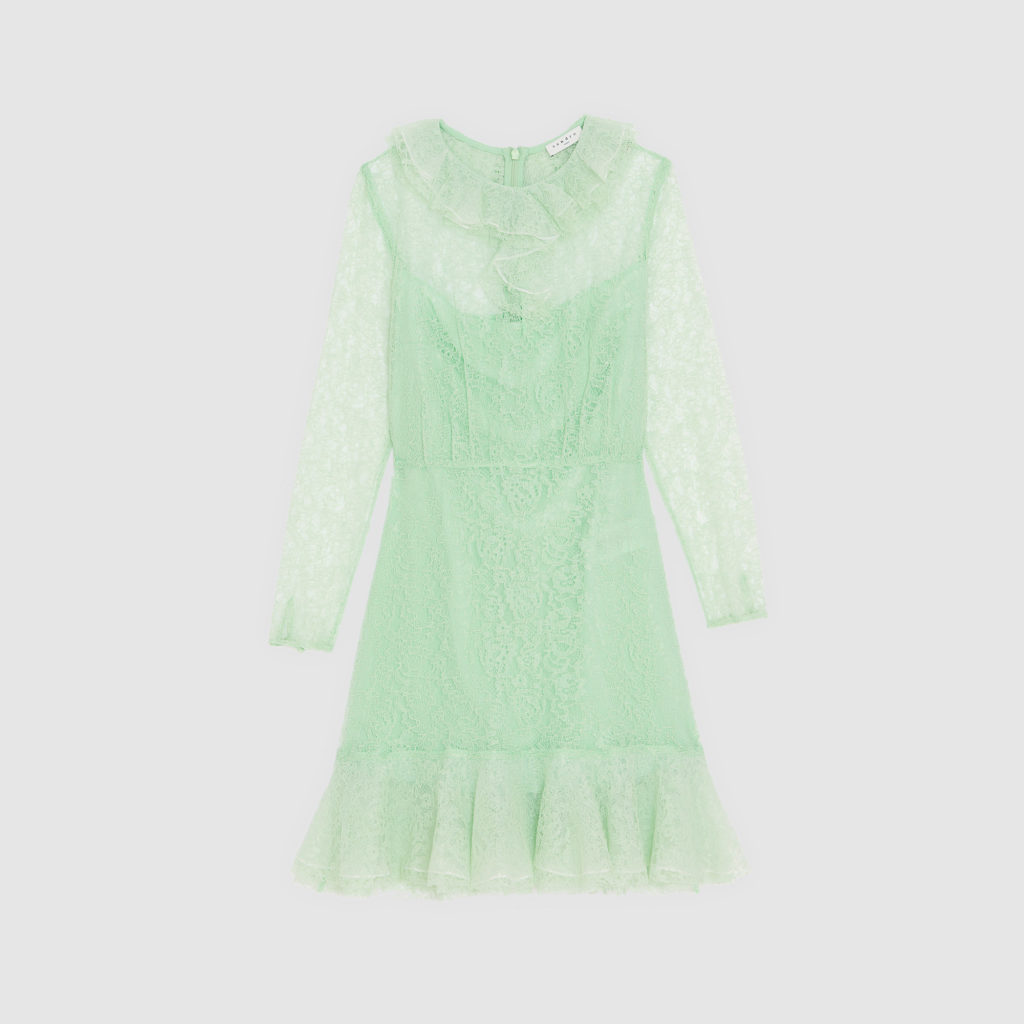Lace dress with ruffled collar, €346.26 at sandro-paris.com