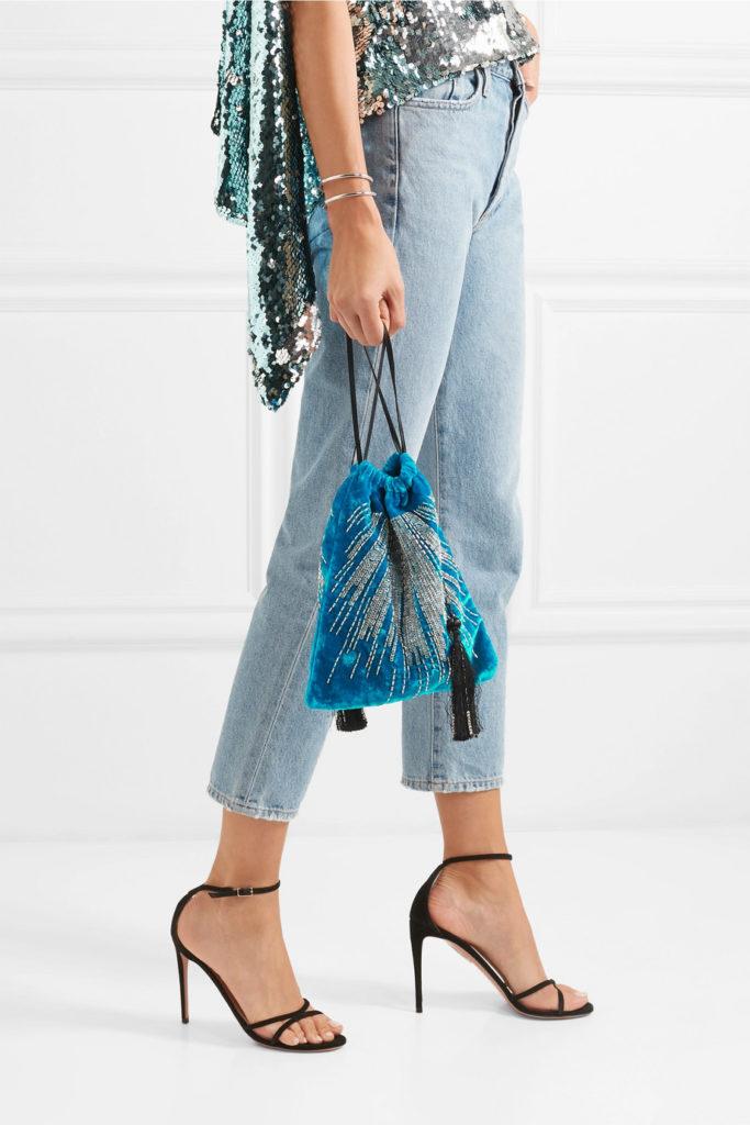 Tasseled embellished velvet pouch by Attico, €350 at net-a-porter.com