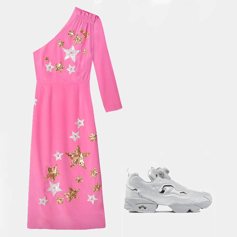 Julia pink star embroidery dress, €396.45 at rixo.co.uk,Reebok Instapump Fury reflective leather sneakers by Vetements, €823 at net-a-porter.com