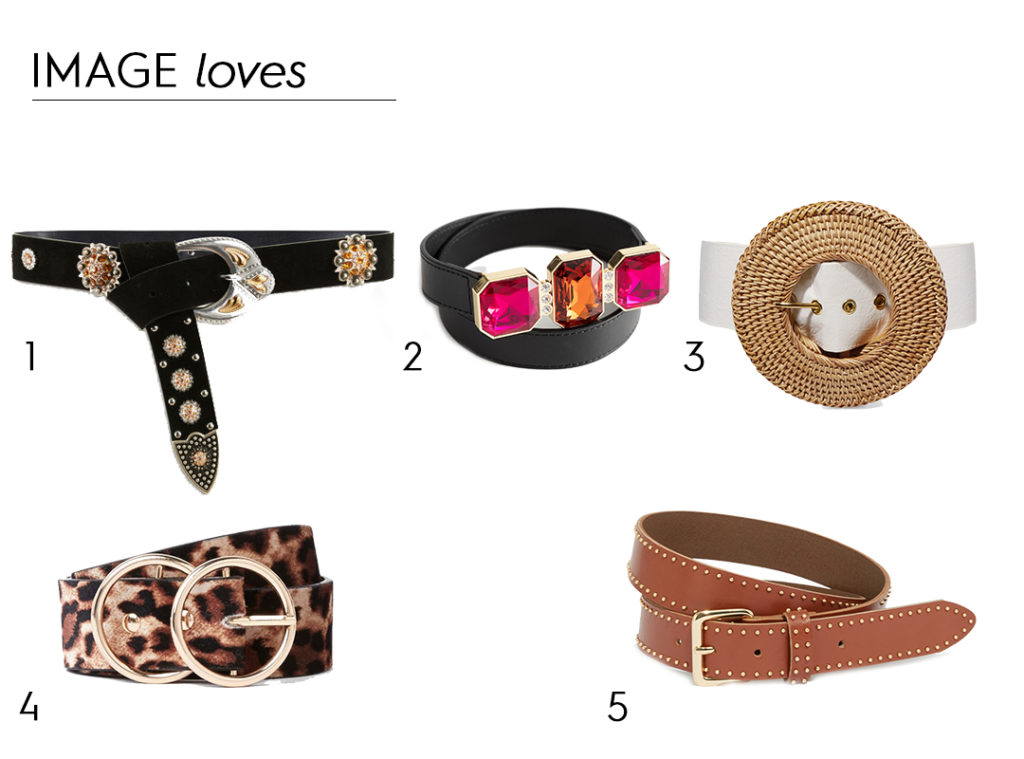 Suede belt with studs and rhinestones, €115 at Maje, rhinestone waist belt, €39 at & Other Stories, rattan and faux leather belt, Cult Gaia, €155 at net-a-porter.com, leopard print double ring belt, €17 at River Island, studded leather belt, €29 at Warehouse