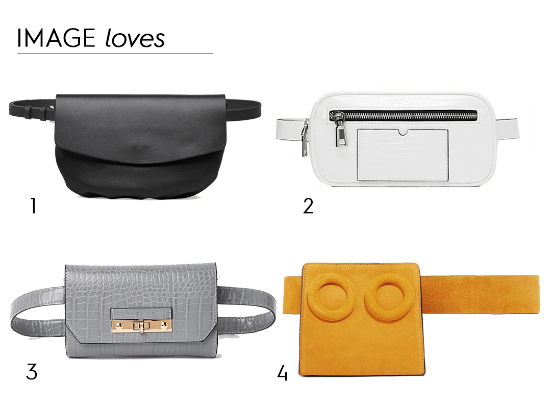Black leather belt bag, €59 at Cos, white embossed belt bag, €29.95 at Zara, grey mini belt bag, €33 at River Island, Deon suede belt bag, Boyy, €540 at net-a-porter.com