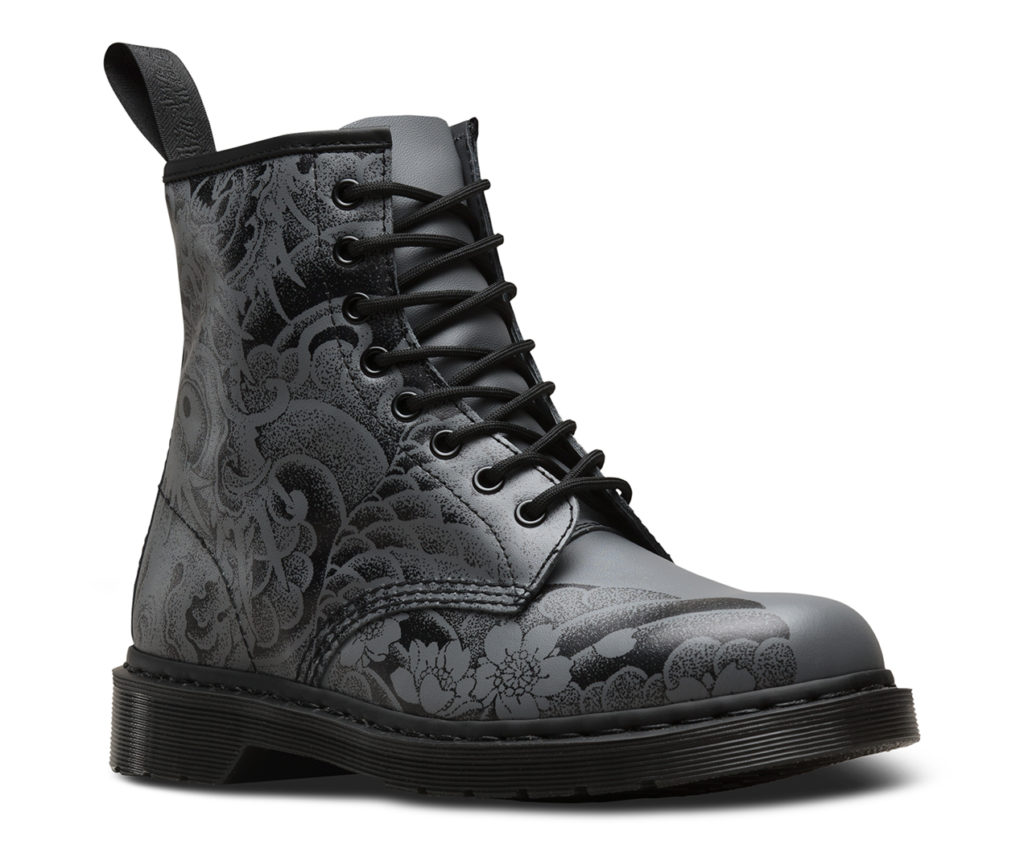 Black and gunmetal OT tattoo backhand, €125 at drmartens.com