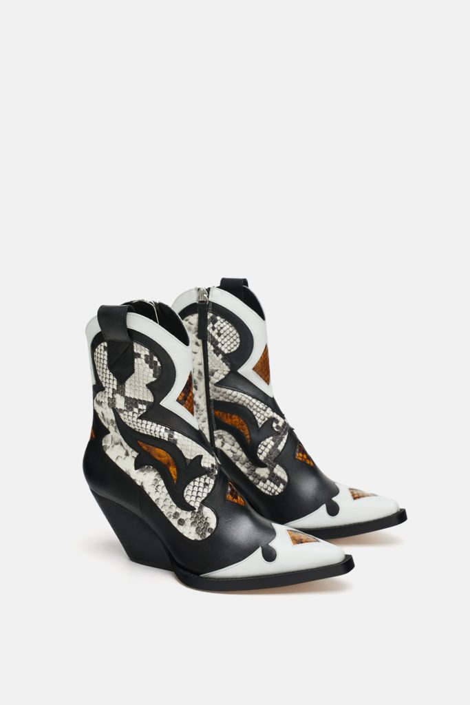 Animal print leather cowboy boots, €192 at zara.com