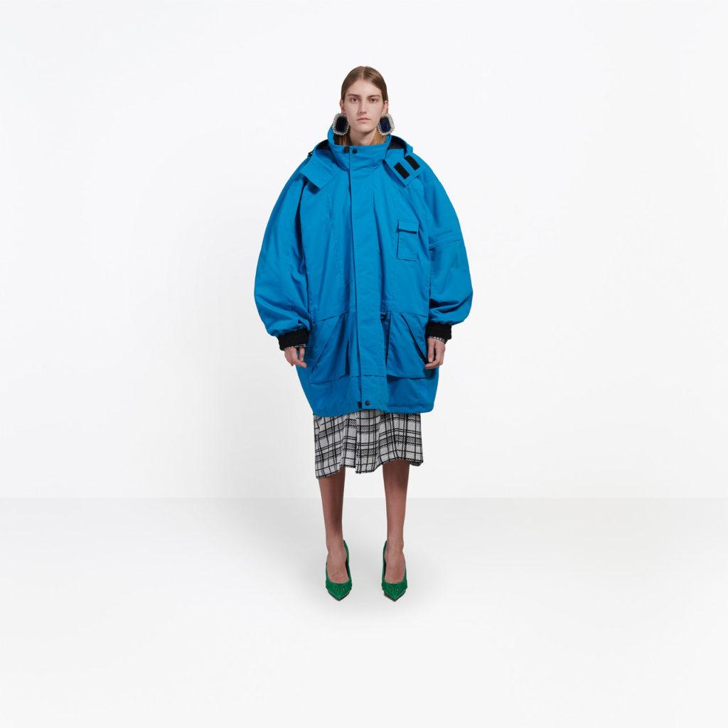 Oversize parka in blue mat nylon, €2,250 at balenciaga.com