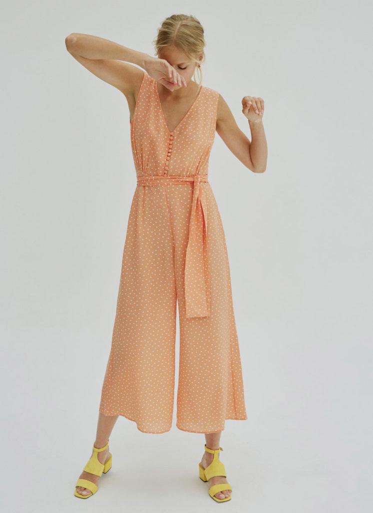 Orange polka dot jumpsuit, €199 at uterque.com