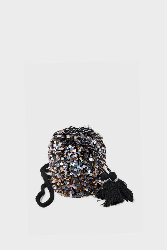Sequinned crossbody bucket bag, €39.95 at zara.com