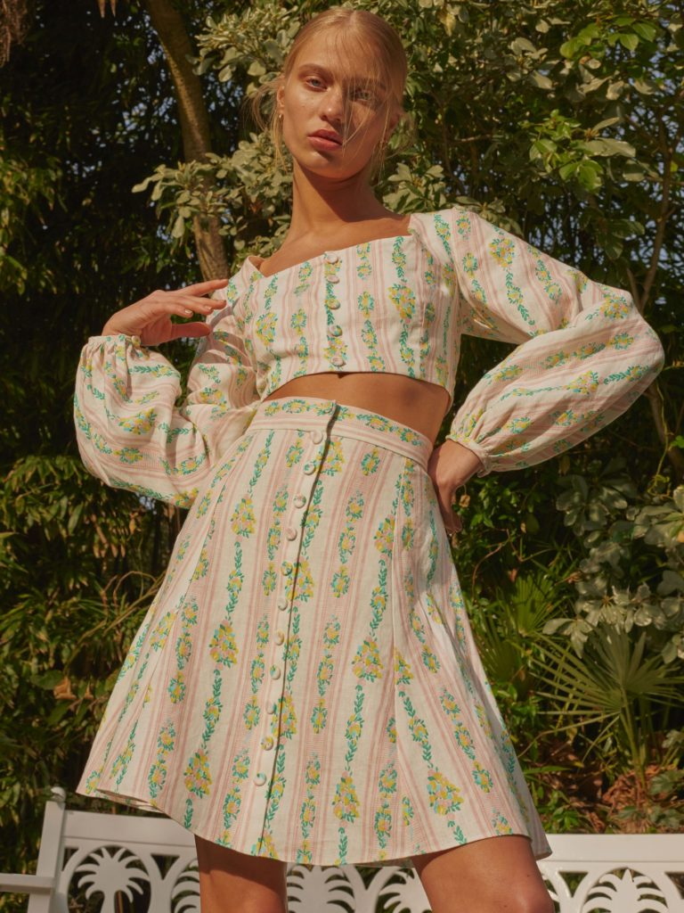 Ines floral-print linen crop top and skirt by Emilia Wickstead, €715 at matchesfashion.com
