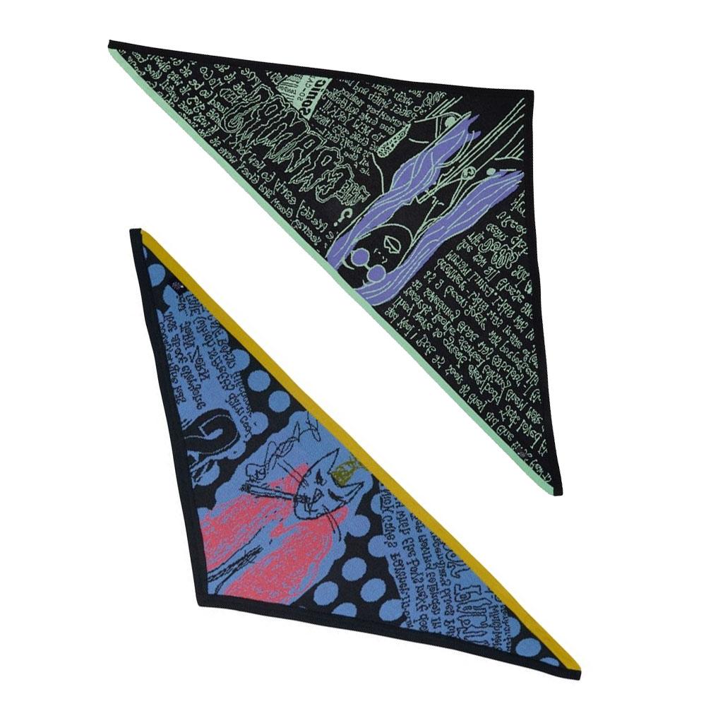 Red-eyedcats knitted bandana, €95 at electronicsheep.com, oversized stone age zine triangle scarf, €152 at electronicsheep.com