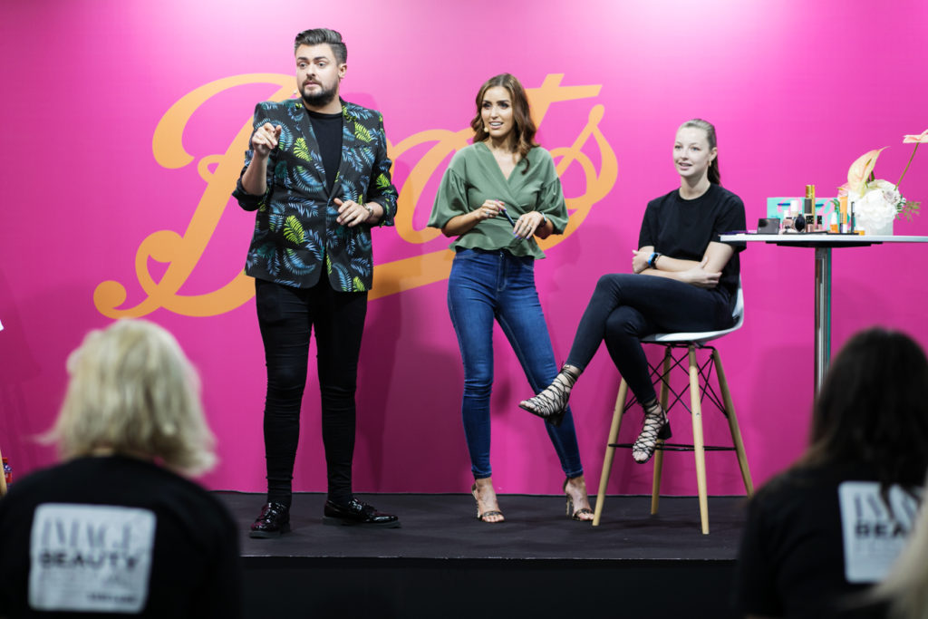James Patrice and Tara O'Farrell show the audience a great make-over session at IMAGE Beauty Festival 2019