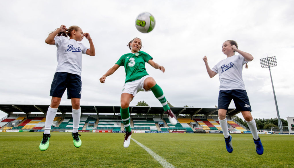 Ireland soccer star Katie McCabe announcing the Boots Ireland sponsorship deal