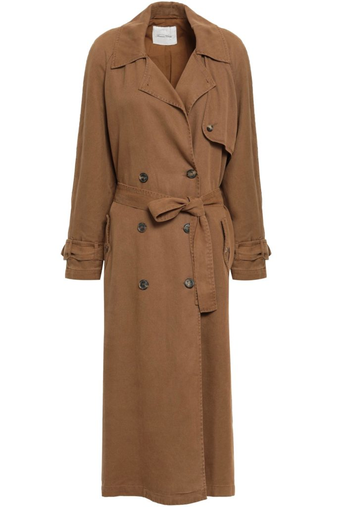 American Vintage double-breasted twill trench coat, outnet