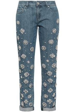 MICHAEL MICHAEL KORS Embellished mid-rise tapered jeans outnet