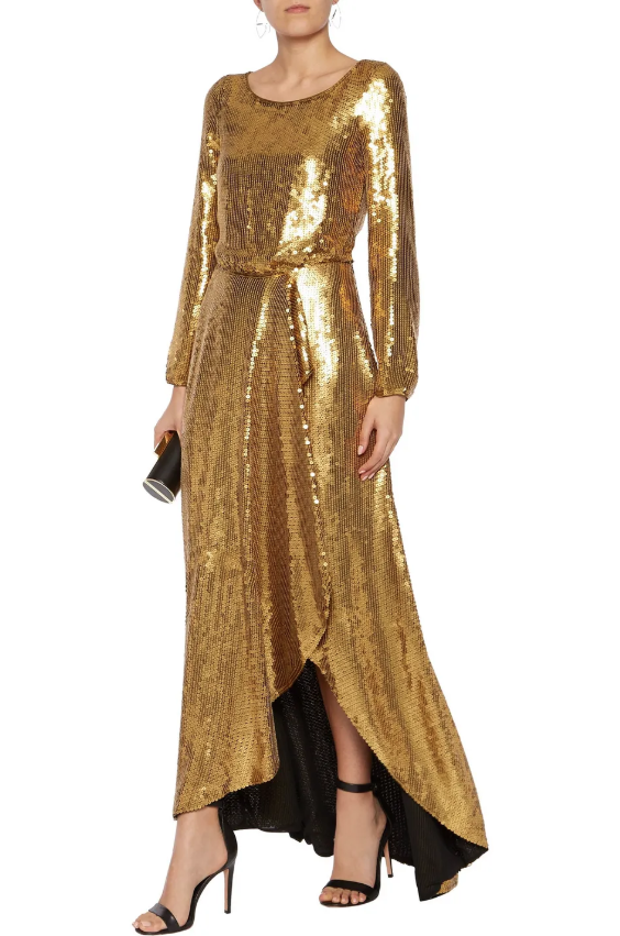 DIANE VON FURSTENBERG Delani draped sequined silk gown