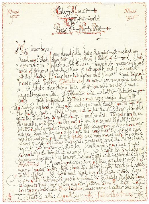 JRR Tolkien letter to children
