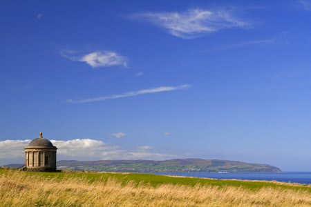 Mussenden Temple with Lough Foyle and Inishowen Head in the Irish Republic visible on the horizon_gardens to visit