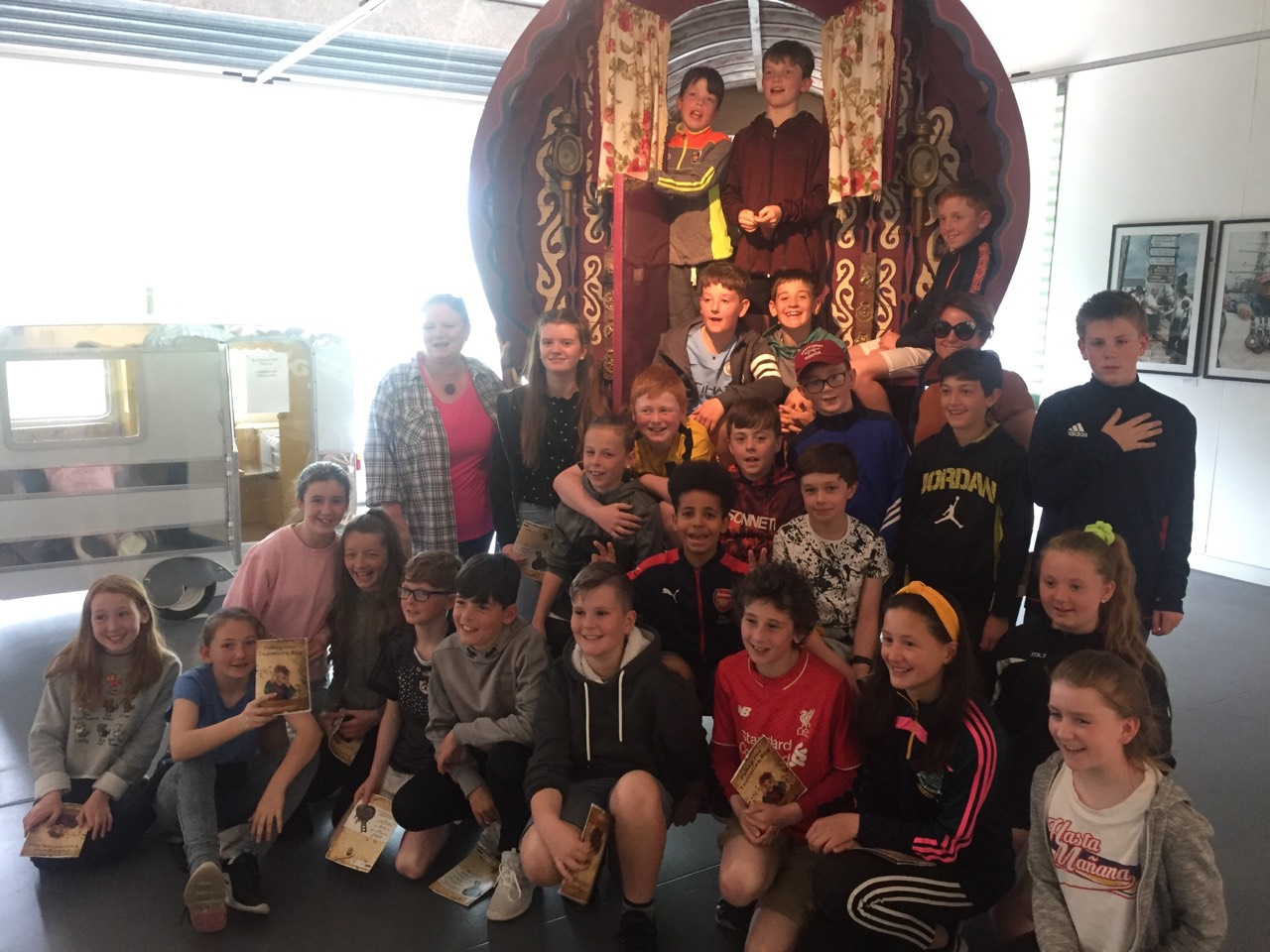 Yellow Flag students attending a Traveller Pride Exhibition at Fitzgerald Park