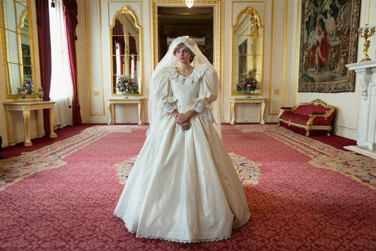 Princess Diana's wedding dress from The Crown series 4, created by costume designer Amy Roberts