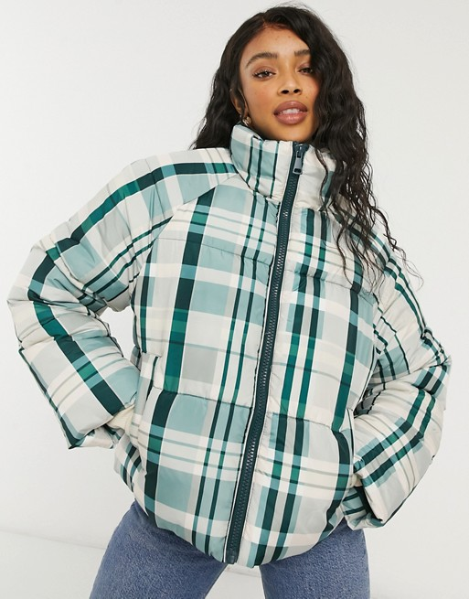 Checked puffer jacket from Monki