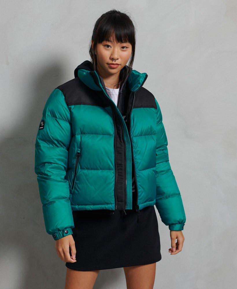 Superdry green and black puffer jacket