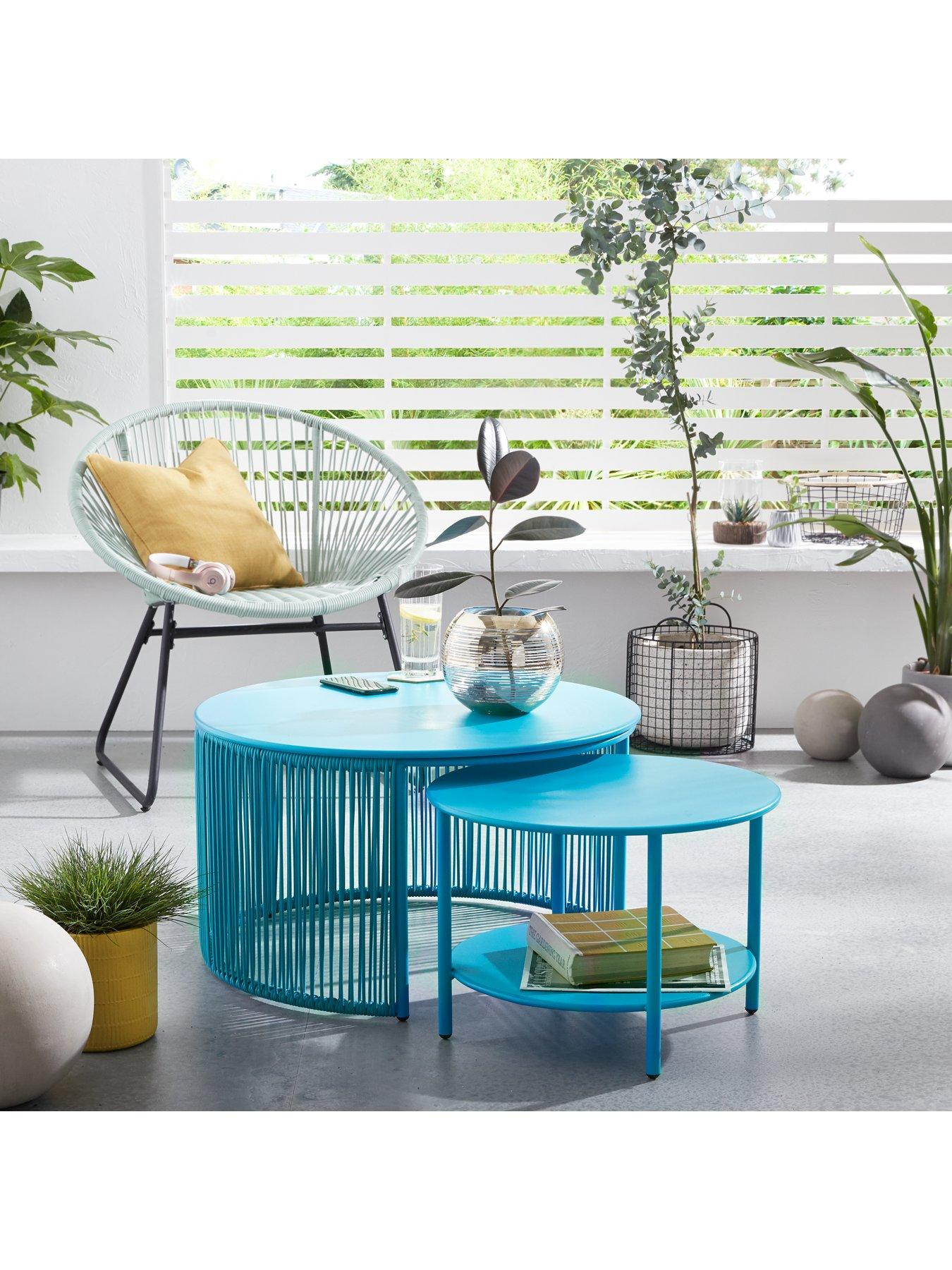 Littlewoods blue Hawaii nested table