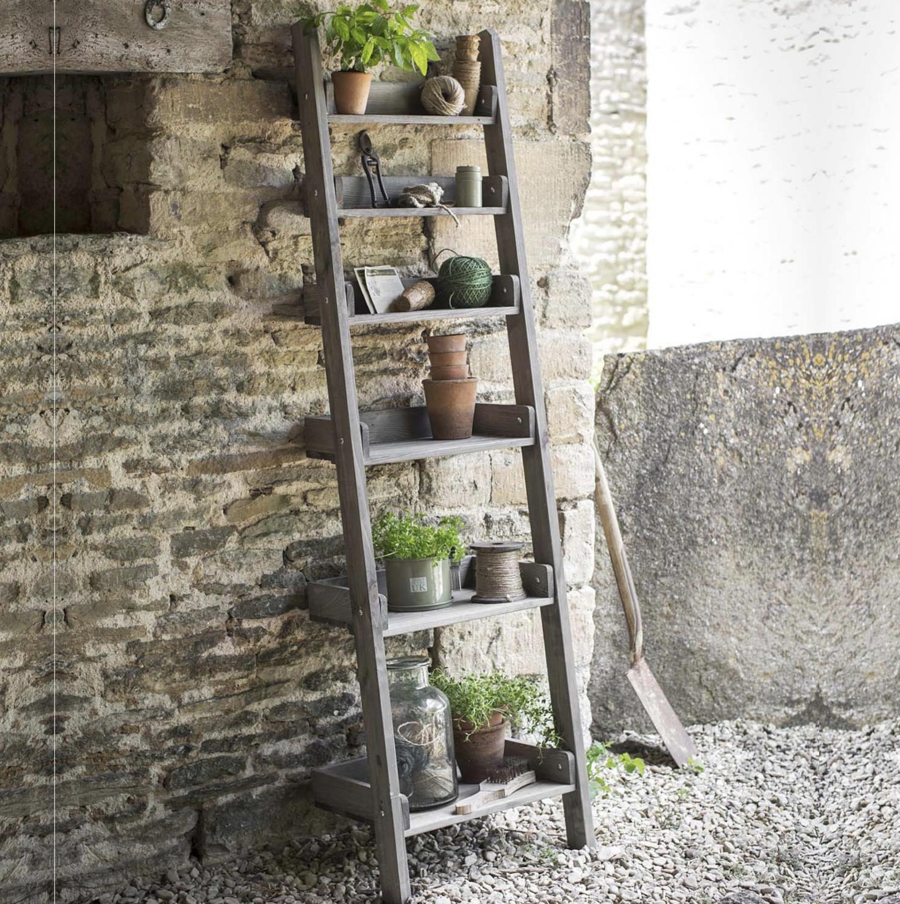 Outdoor folding shelf ladder